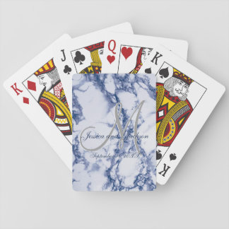 Monogram Blue Marble Design Playing Cards