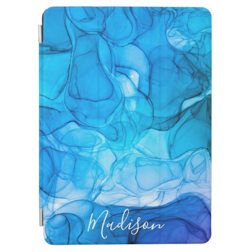 Monogram blue marbling dreams iPad air cover