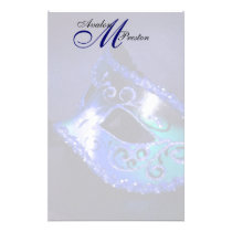 Monogram Blue Masquerade Wedding Stationery