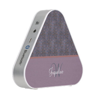 Monogram Blue Mauve Lavender Orange Waves Bluetooth Speaker