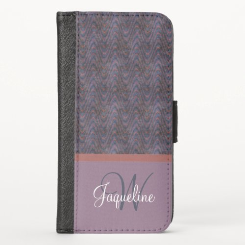 Monogram Blue Mauve Lavender Orange Waves iPhone X Wallet Case