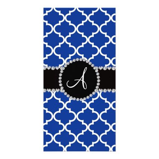 Monogram blue moroccan quatrefoil picture card