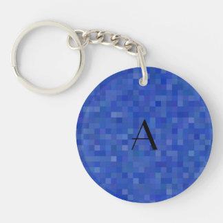 Monogram blue mosaic squares Single-Sided round acrylic keychain