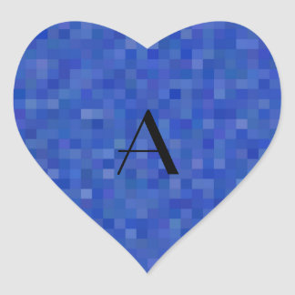 Monogram blue mosaic squares heart stickers