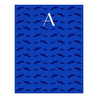 "Monogram blue mustache pattern 8.5"" x 11"" flyer"