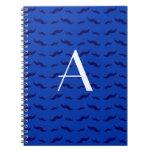 Monogram blue mustache pattern spiral notebooks