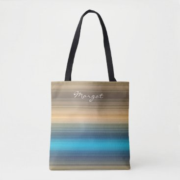 Beach Themed Monogram blue, navy and brown stripe tote bag