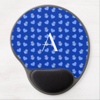 Monogram blue owls and hearts gel mouse mats