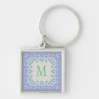 Monogram Blue Periwinkles Floral Border Faux Linen Keychain