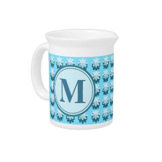 Monogram Blue Petal Pattern Drink Pitcher
