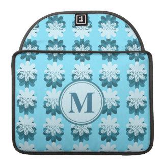 Monogram Blue Petal Pattern MacBook Pro Sleeve