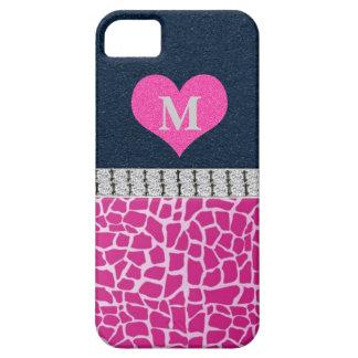 Monogram, Blue, Pink Giraffe print iPhone 5 Case