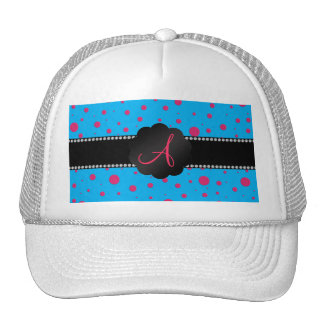 Monogram blue pink polka dots mesh hats