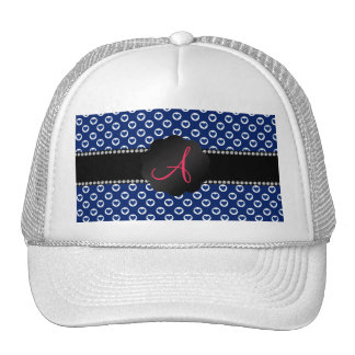 Monogram blue polka dot hearts trucker hat
