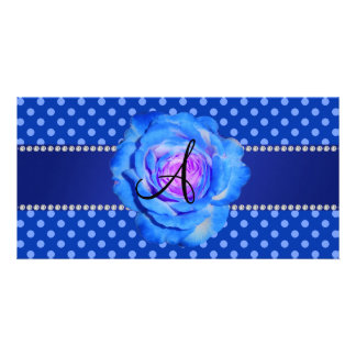 Monogram blue polka dots blue rose photo card