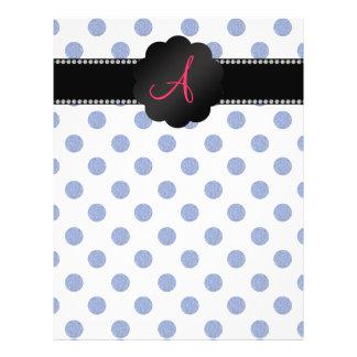 """Monogram blue polka dots 8.5"""" x 11"""" flyer"""
