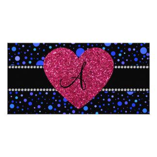 Monogram blue polka dots pink heart photo cards