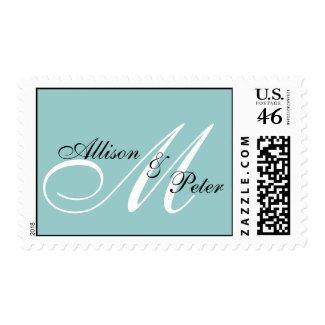 Monogram Blue Postage Stamps for Weddings