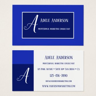Monogram Blue PR Marketing Template Business Card