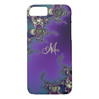 Monogram Blue Purple Fractal Celtic Heart Knot iPhone 8/7 Case