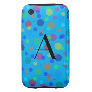 Monogram blue rainbow polka dots tough iPhone 3 case