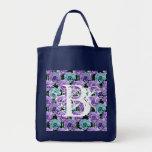 Monogram Blue Roses ToteBag Letter B Bag