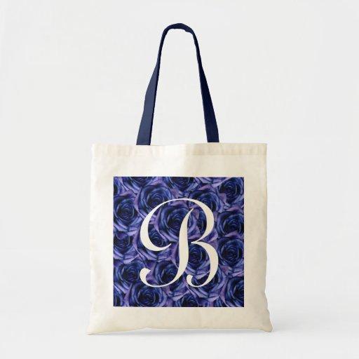 Monogram Blue Roses ToteBag Letter B Canvas Bag