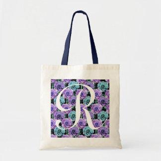 Monogram Blue Roses ToteBag Letter R Tote Bag