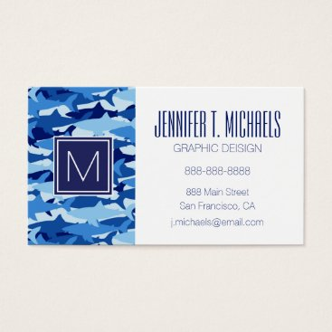 Beach Themed Monogram Blue Shark Pattern Business Card