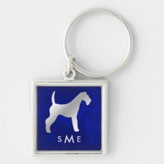 Monogram Blue Silver Airedale Terrier Keychain