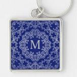 Monogram Blue & Silver Filigree Motif Key Chain