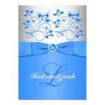 Monogram Blue Silver Floral Bat Mitzvah Invitation