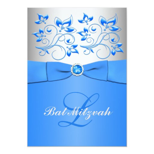 "Monogram Blue Silver Floral Bat Mitzvah Invitation 5"" X 7"" Invitation Card"