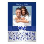 Monogram Blue, Silver Floral PHOTO Wedding Invite