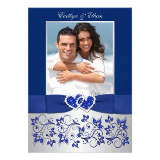 Monogram Blue Silver Floral PHOTO Wedding Invite