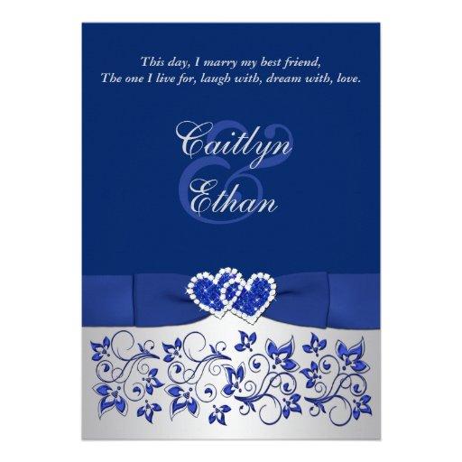 Monogram Blue Silver Floral Wedding Invitation