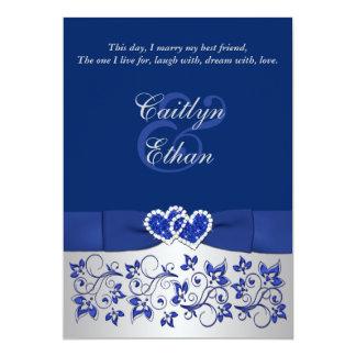 "Monogram Blue, Silver Floral Wedding Invitation 5"" X 7"" Invitation Card"