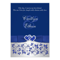 monogram blue silver floral wedding invitation - Royal Blue And Silver Wedding Invitations