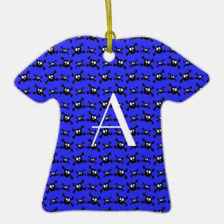 Monogram blue skulls pattern christmas ornaments