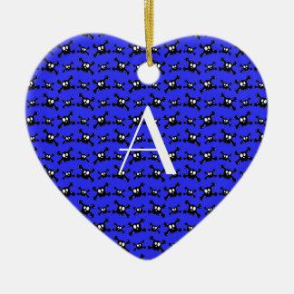 Monogram blue skulls pattern christmas tree ornament