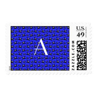 Monogram blue skulls pattern postage stamp