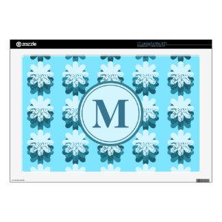 """Monogram Blue Snowflake Pattern 17"""" Laptop Skin"""
