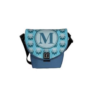 Monogram Blue Snowflake Pattern Customizable Messenger Bag