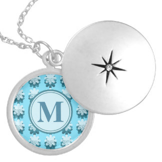 Monogram Blue Snowflake Pattern Customizable Silver Plated Necklace