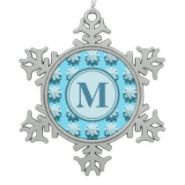 Monogram Blue Snowflake Pattern Customizable Snowflake Pewter Christmas Ornament