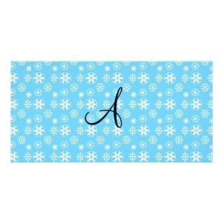 Monogram blue snowflakes personalized photo card