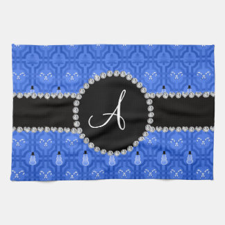 Monogram blue snowman trellis towel