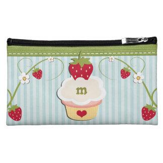 Monogram Blue Strawberry Cosmetic Bag