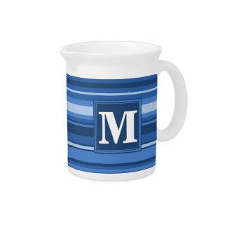 Monogram blue stripes beverage pitchers