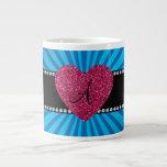 Monogram blue sunburst pink heart 20 oz large ceramic coffee mug